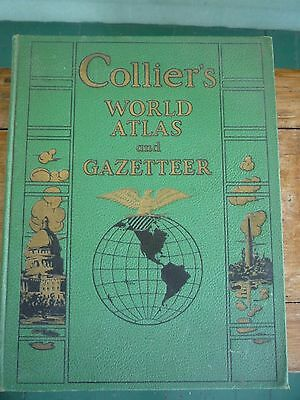 Vintage 1941 COLLIERS WORLD ATLAS & GAZETTEER  Green cover VG