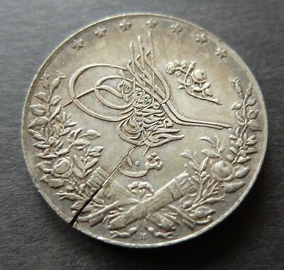 1913 (1327Ah Year 6) Silver Cracked Planchet Error Egypt 10 Qirsh Coin,  Lot#373