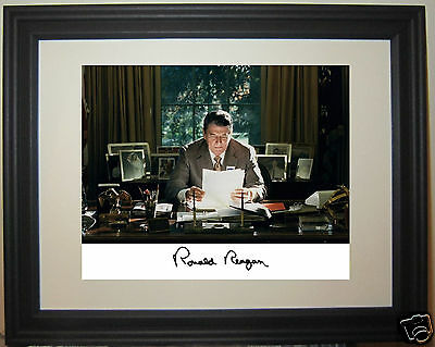 President Ronald Reagan Oval Office Autograph Framed & Matted Photo Picture