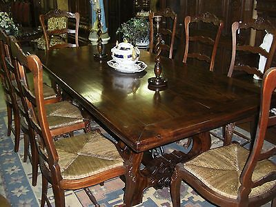 "Antique Style Country French Eight Foot Solid Hardwood 2"" Thick Dining Table"