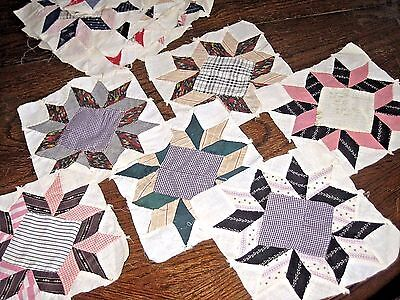UNUSED Lot of 36 Vintage Early 1900's Cotton Quilt Blocks American Hand Sewn