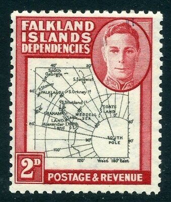 FALKLANDS ISLANDS;  1946 early GVI  ' Thick ' Map issue, Mint . 2d. -302243