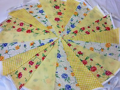 20ft/6m Vintage Yellow Floral Bunting Wedding ,shabby chic handmade VIN YELL...