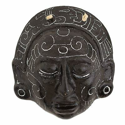 Ceramic Wall Mask Replica Handmade 'Maya Night Voyage' NOVICA Guatemala