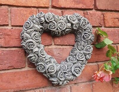Stone Garden Roses Wall Heart Floral Frame Plaque Hanging