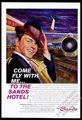 1961 Frank Sinatra pic The Sands Hotel casino Las Vegas Come Fly With Me ad