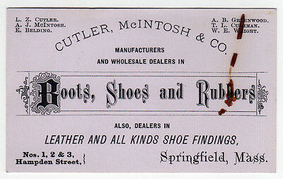 ANTIQUE CUTLER MCINTOSH Boots Shoes Rubbers Trade Card SPRINGFIELD Massachusetts