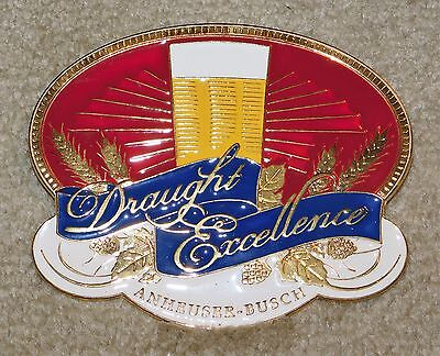 Large BUDWEISER Beer DRAUGHT EXCELLENCE Tap Handle TOWER Metal Logo Plate (MIP)
