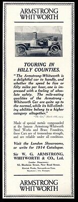 1914 Armstrong Whitworth car photo vintage UK print ad