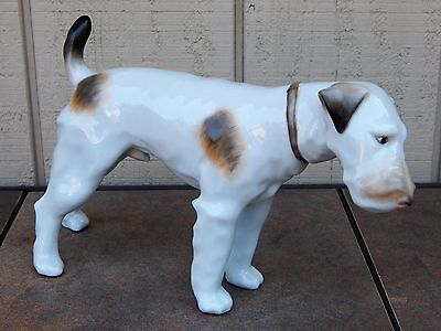 RARE, HEREND DOG figurine Fox Terrier, White with Brown, Standing Male