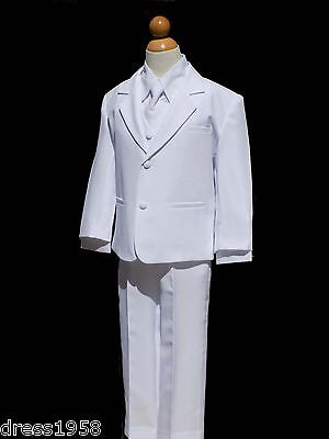 Boys Baptism, Ring Bearer, Recital Tuxedo  White Suit Set, Size Small  to 14