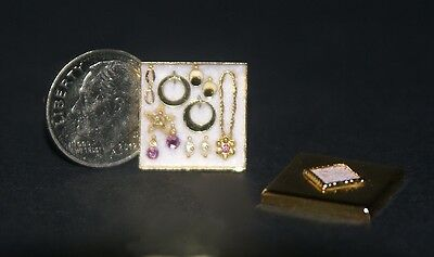 JEWELRY BOX W/ LID (filled) 1:12 Scale Artisan DOLLHOUSE MINIATURES