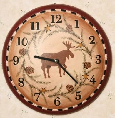 New Rustic Cabin Lodge Primitive Country MOOSE PINE CONE STAR  Wood Wall Clock