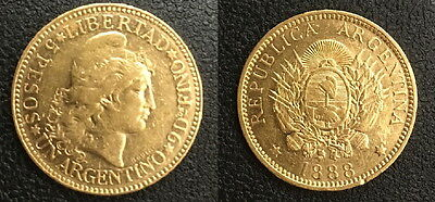 Argentina 1888 Five Gold Peso---Authentic Date Not Random--High Grade & Lustrous