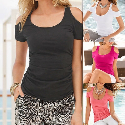 Sexy Slim Summer Women Short Sleeve Off Shoulder Casual Top Loose T-Shirt Blouse