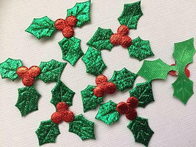 BB HOLLY EMBELLISHMENT pk of 12 christmas trim 33mm decoration craft cards