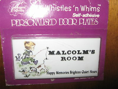 Vintage Whistles' n Whims Porcelain Personalised Door Plate MALCOLM's ROOM