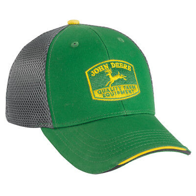 2bf73f61823 John Deere  green   Grey Sport Mesh  Fitted Cap Hat  brand ...