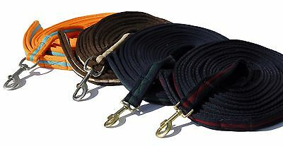 SOFT PADDED horse / pony LUNGE / TRAINING LINE / REIN 8 metre  various colours