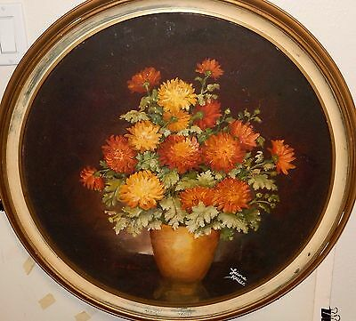 Laura Keller Vintage Original Oil On Board Floral Vase Painting