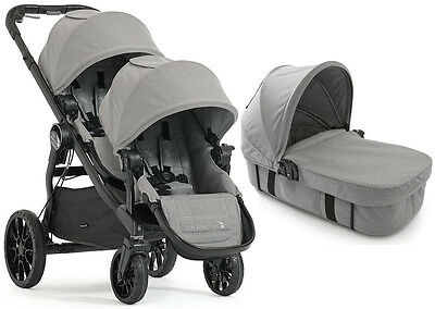 Baby Jogger City Select Lux Twin Double Stroller Slate w/ Second Seat & Bassinet