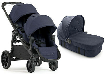 Baby Jogger City Select Lux Twin Double Stroller Indigo w Second Seat  Bassinet