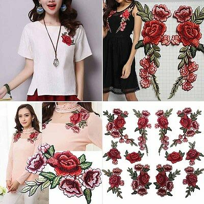 2PC Embroidery Rose Flower Sew On Patch Badge Applique Craft  Bag Hat Shoes