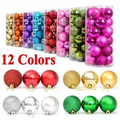 24X 3/4/6/8cm Christmas Xmas Tree Ball Bauble Hanging Party Ornament Decoration