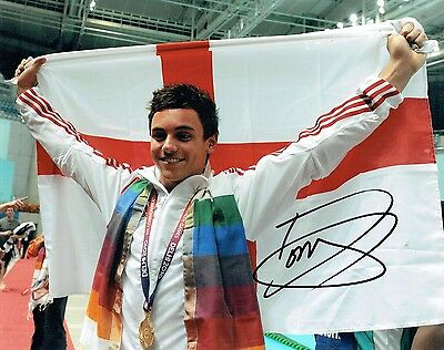 Tom DALEY Autograph Signed Photo 2 AFTAL COA Diving Olympic Gold Medal Winner