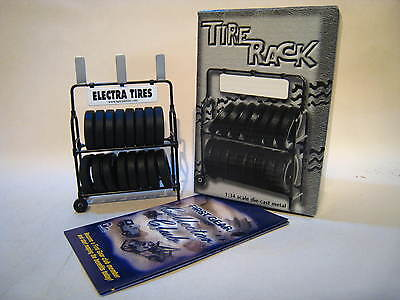 4x 'FIRST GEAR'. 1:34 TYRE RACKS - with TYRES.MIB/BOXED. SUIT DIORAMA/SCALEXTRIC