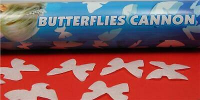 3 Wedding Birthday Party Confetti 40cm Tall Cannons Poppers White Butterflies