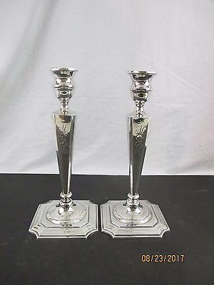"Shreve Crump & Low 10 1/4"" Sterling Candlesticks - Monogrammed"