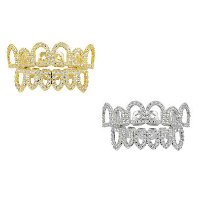 2 Set Fancy Hip Hop Tooth 18k Gold Plated CZ Mouth Teeth Cap Grills