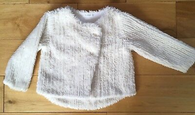 Next Baby Girls Cream Fluffy Furry Faux Fur Jacket Coat Cardigan 12-18 Months