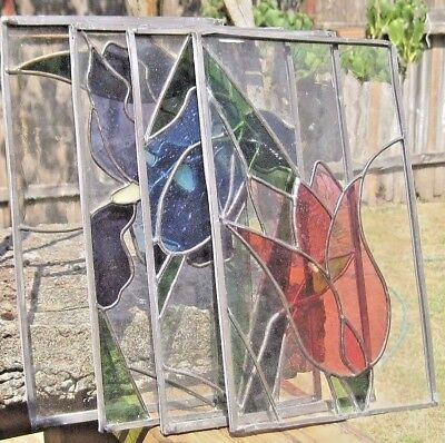 Vintage Authentic Handmade Stained Glass Panels Flower Window Sun Catchers