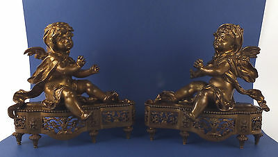 Pair 19thC Antique Bronze Figural Andirons Fire Dogs with Sculpture Angels