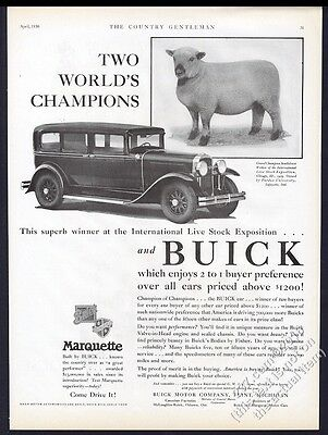 1930 Champion Southdown Wether sheep photo Buick sedan vintage print ad