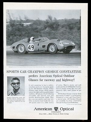 1962 Ferrari Testarossa George Constantine race car photo American Optical ad