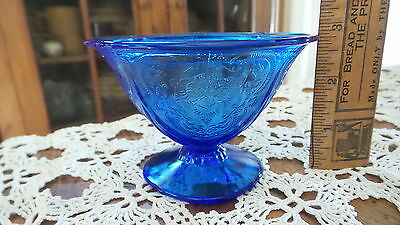 Antique Depression Glass ROYAL LACE Footed SHERBET,Cobalt Blue,Hazel Atlas