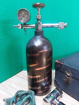 Vtg Antique Scientific Medical Surgical Tool Anesthesia Tank Instrument Japanned