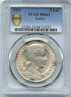 1931 Latvia 5 Lati Silver Coin PCGS MS63 Certified - JX596
