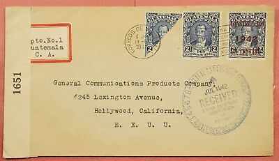 1942 Guatemala Bisect On Wwii Censored Cover To Usa