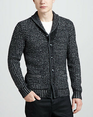 Rag & Bone NeimanMarcus Target Men Grey Cardigan Shawl Collar Sweater M L XL XXL