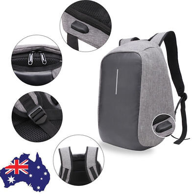Anti-theft Unisex Laptop Notebook Backpack Travel School Bag w/ USB Charger Port