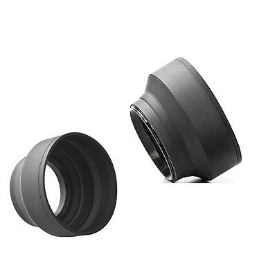 52mm 3-Stage Collapsible Rubber Lens Hood For 50/1.8 Nikon 18-55 50/1.8D
