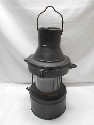 Vintage Metal and Glass Oil Ship's Stern Light Kerosene Lamp Japanese #45