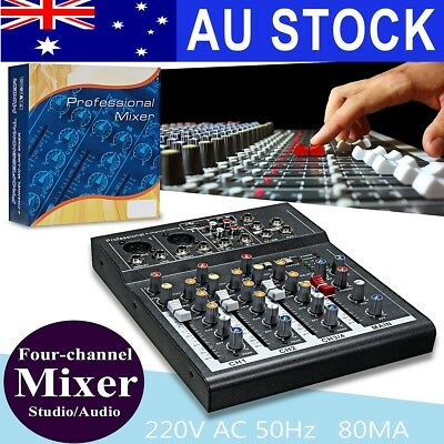 AU Professional 4 Channel Live Studio Audio Sound USB Power Mixer Mixing Console