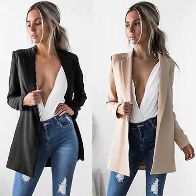 Women Ladies Casual Long Sleeve Coat Suit Slim Top Blazer Jacket Outwear Coat