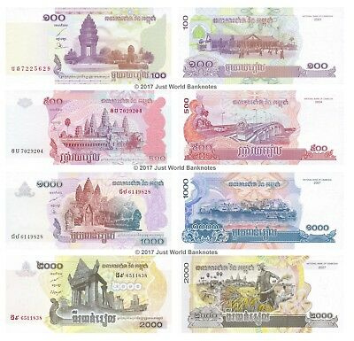 Cambodia 100 + 500 + 1000 + 2000 Riels Set of 4 Banknotes 4 PCS  UNC