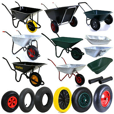 Heavy Duty Wheelbarrows Galvanised Plastic Metal Tyre Builders Garden DIY Home